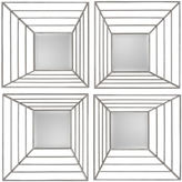 Asstd National Brand Denain Set of 4 Silver Metal Mirrors