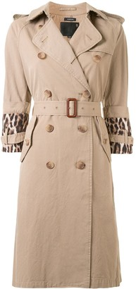 R 13 Animal Print Sleeve Belted Trench Coat