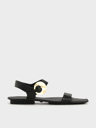 Charles & Keith Leather Hammered Buckle Flats
