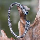 Blue Topaz on Sterling Silver Hinged Cuff Bracelet from Bali, 'Beacon of Light'