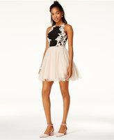 Blondie Nites Juniors' Embellished Applique Fit & Flare Dress