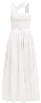 Gabriela Hearst Norah Asymmetric Pleated Linen Dress - Ivory