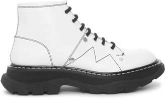 Alexander McQueen White thread lace up boots