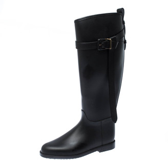 Burberry Black Leather Roscot Belted Rain Boots Size 36