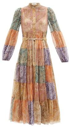 Zimmermann Brighton Patchwork Paisley-print Silk Dress - Multi