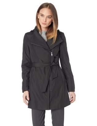 Calvin Klein Women's Asytmetrical Zip rain Coat with Removable Belt and Hood