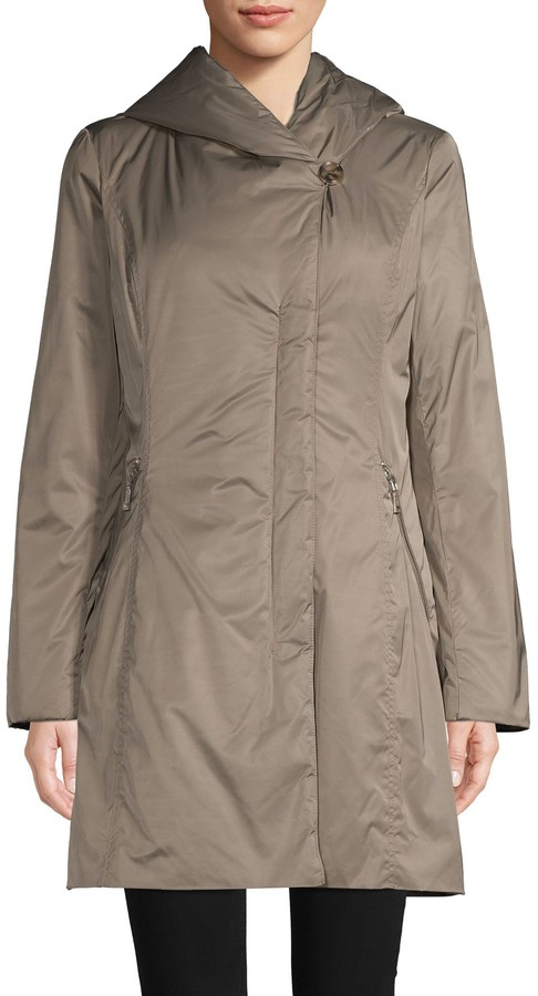 T Tahari Metallic Hooded Raincoat