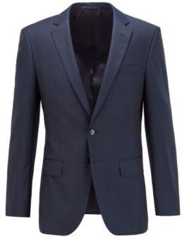 HUGO BOSS Slim Fit Jacket In Patterned Virgin Wool - Dark Blue