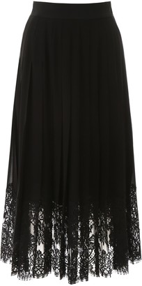 Dolce & Gabbana Pleated Lace Midi Skirt