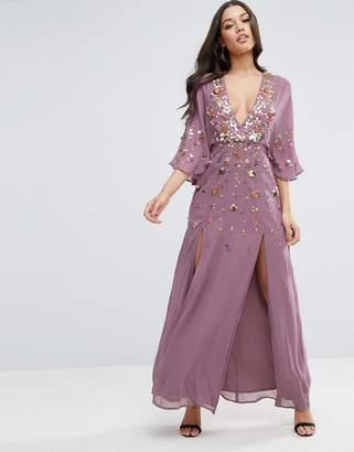 Asos Design Embellished Kimono Sleeve Maxi Dress-Purple