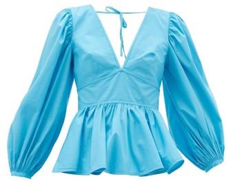 STAUD Luna Peplum-hem Cotton-blend Top - Blue