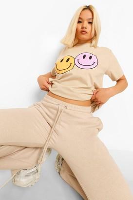 boohoo Petite Smiley Face Oversized T-Shirt