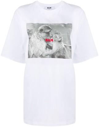 MSGM monkey-print oversized T-shirt