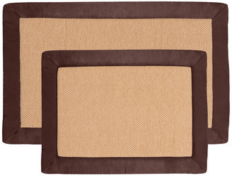 Lavish Home 2 Pc Memory Foam Bath Mat Set by Lavish Home, Faux Linen Fleece, Choco