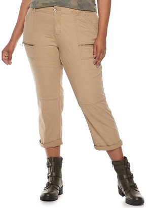 UNIONBAY Juniors' Plus Size Stretch Twill Utility Crop Pants