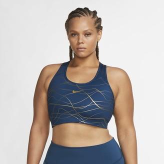 Nike Women's Medium-Support Non-Padded Printed Sports Bra (Plus Size Swoosh Icon Clash