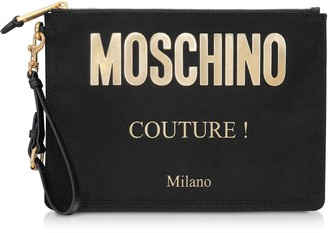 Moschino Black And Gold Nylon Signature Clutch