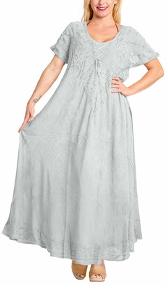 LA LEELA Everyday Essentials Women Solid Plain Short Beach Dress Vintage Casual Maxi Evening Loungewear Short Sleeve Daily wear Caftan Cover up Tunic One Size Large Cruise Grey_A225 Size-14(M)-20(XL)
