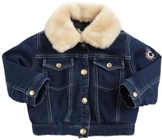 Chloé Stretch Cotton Denim Jacket W/ Faux Fur