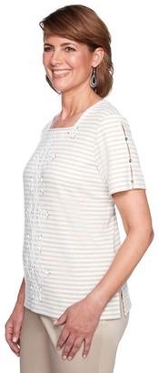 Alfred Dunner Women's Center Scroll Ribbon Stripe tee Shirt