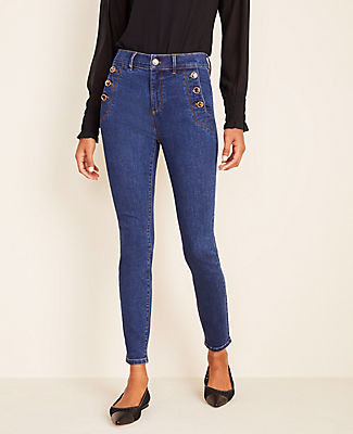 Ann Taylor Tall High Waist Skinny Sailor Jeans in Bright Indigo Wash