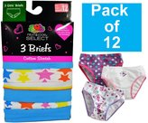 Fruit of the Loom Assorted Girls 12Pack Cotton Stretch Briefs Underwear, 16