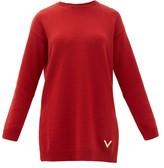 Valentino Logo-plaque Cashmere Sweater - Womens - Red