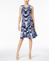 JM Collection Dyed-Pattern Fit & Flare Dress, Only at Macy's