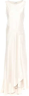 Amanda Wakeley Asymmetric Wrap-effect Satin-crepe Maxi Dress