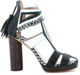 Susana Traça Heeled Sandal In Black And White Leather