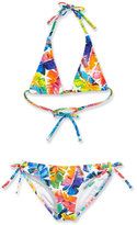 Milly Minis Childrenswear Banana Leaf Triangle Halter Bikini, Multicolor, Size 8-14