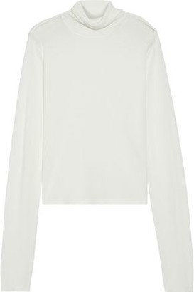Helmut Lang Twisted Silk And Cotton-blend Jersey Turtleneck Top