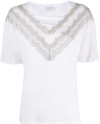 Sandro Paris Lamene lace-embellished T-shirt