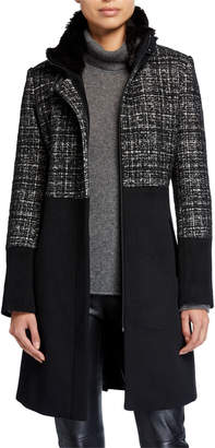 Via Spiga Mixed-Media Wool-Blend Faux-Fur Collar Coat