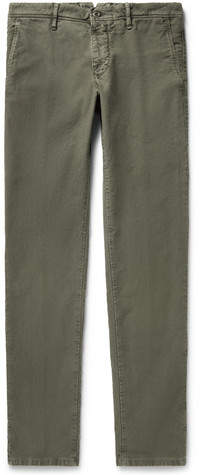 Incotex Slim-fit Stretch-cotton Trousers - Army green