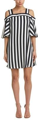 Taylor Dresses Women's Cold Shoulder Flyaway Sleeve Stripe Dress