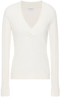 Claudie Pierlot Pointelle-knit Cotton-blend Sweater