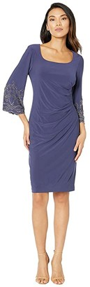 Alex Evenings Short Scoop Neckline Sheath Dress with Embellished Illusion Sleeves (Evening Blue) Women's Dress