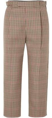 Monse Cropped Pleated Checked Wool-blend Straight-leg Pants