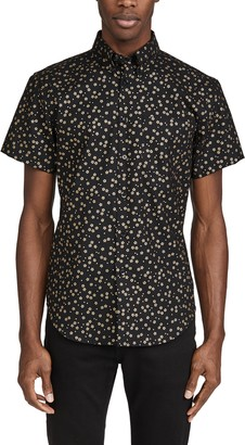 Naked & Famous Denim Japanese Golden Flowers Short Sleeve Easy Shirt