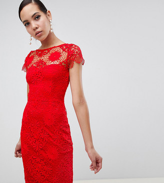 Paper Dolls Tall cap sleeve crochet lace pencil dress in red