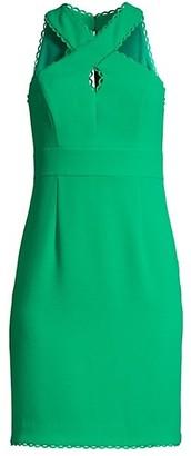 Trina Turk Rafter Criss-Cross Halter Sheath Dress