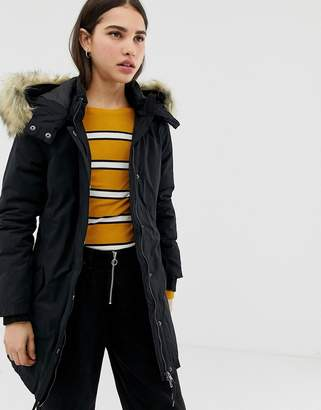 Only Sarah parka coat with faux fur hood-Black