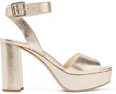 Miu Miu Metallic Textured-leather Platform Sandals - Gold