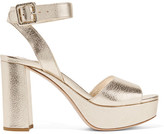 Miu Miu Metallic Textured-leather Platform Sandals - IT41