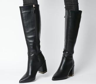 Office Klever Block Heel Knee Boots Black