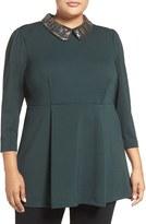 Melissa McCarthy Plus Size Women's Embellished Ponte Peplum Tunic