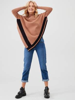 River Island Contrast Tipping Cape Jumper-toffee