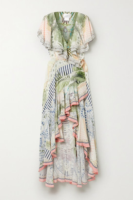Camilla Ruffled Crystal-embellished Printed Silk-crepe Wrap Maxi Dress - White