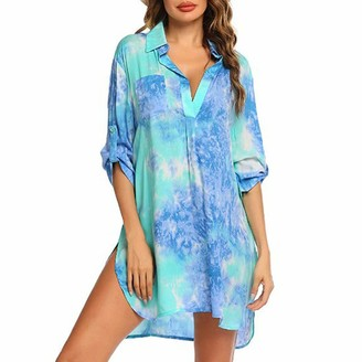 Celucke Womens Casual Loose Fit Vintage Print Dress